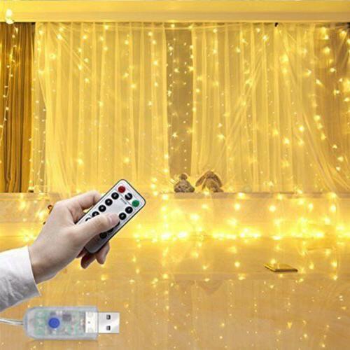 300 led curtain fairy lights usb string