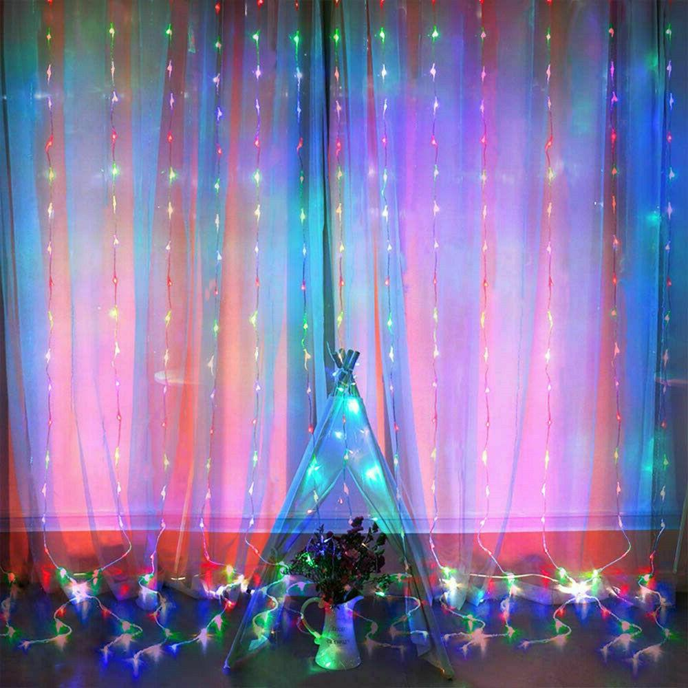 300 LED Curtain String 3m*3m Waterproof Twinkle Wall Lights