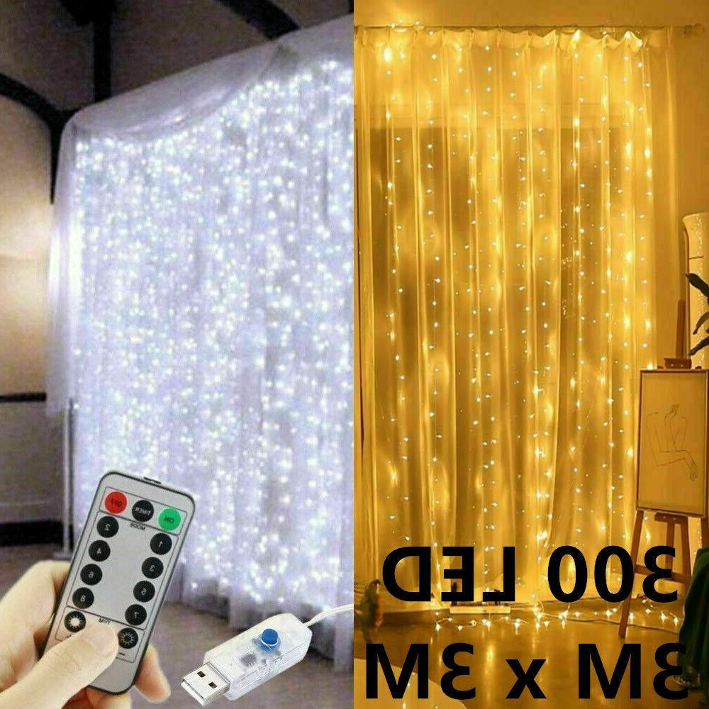 300 led curtain lights string 3m 3m