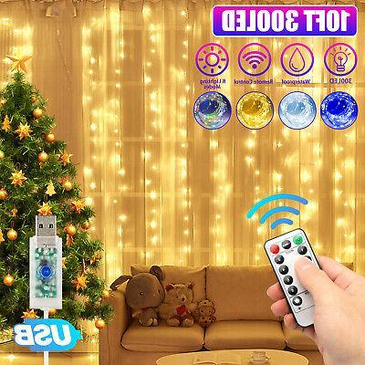 300led curtain fairy lights usb string light