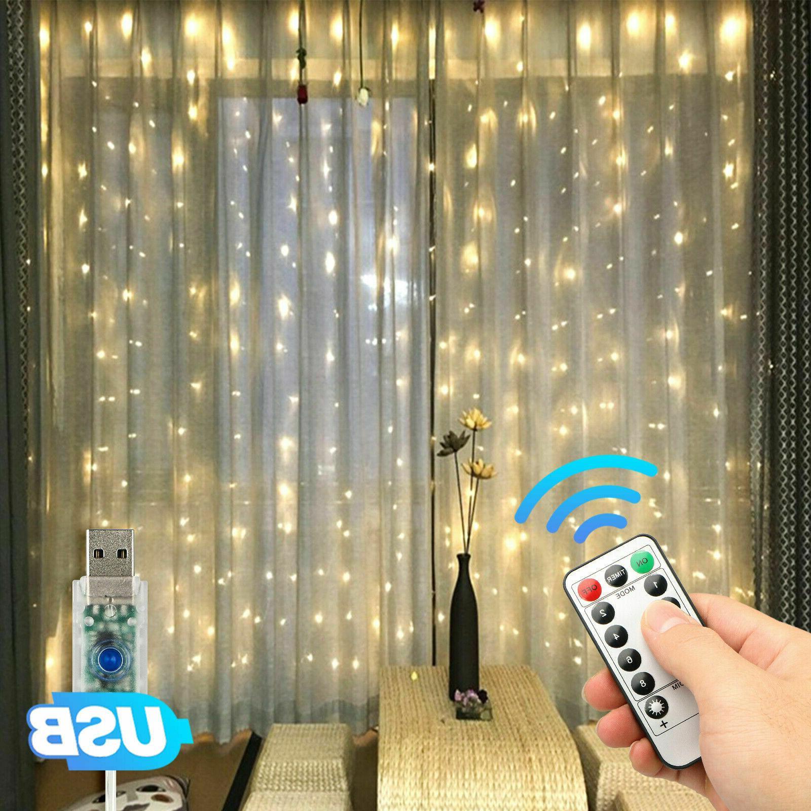 300led party wedding curtain fairy lights usb