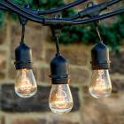 30ft 9 LED E26 Outdoor Patio Globe String Lights Socket Base