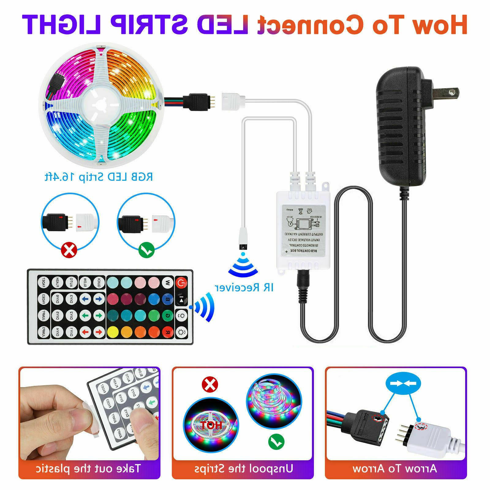 32FT Flexible RGB Remote Fairy Lights TV Party Bar