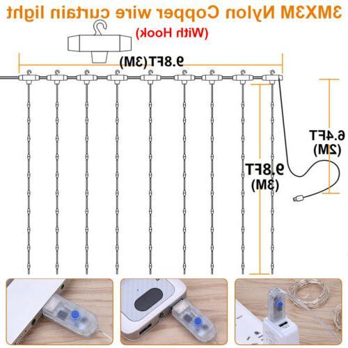 3*3M 300LED LED Curtain Wireless Control