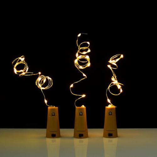 3pcs Wine Bottle Cork Lights Copper Light Strips Rope Lamp Kit DIY for