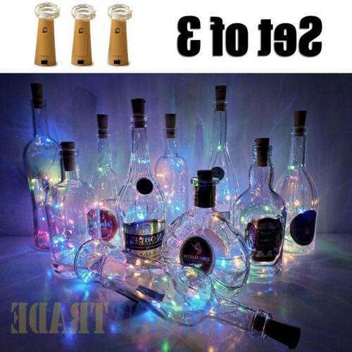 3pcs wine bottle cork lights copper led