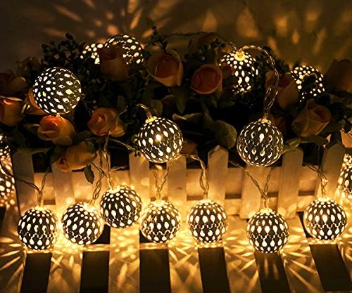 Twinkle 40 LED Globe Lights, Sliver Hanging Lights Battery Decor for Bedroom, Party, Wedding, Christmas Tree