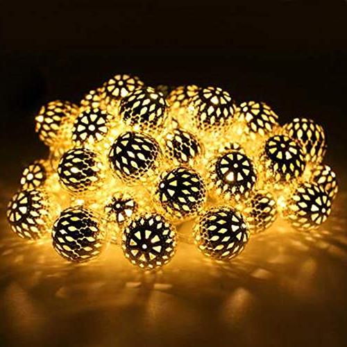 Twinkle 40 LED Globe Lights, Moroccan Hanging Lights Battery Decor for Indoor, Bedroom, Party, Wedding,