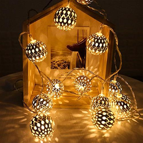 Twinkle 13.5 40 LED Lights, Sliver Moroccan Hanging Battery Decor Bedroom, Party, Wedding, Tree