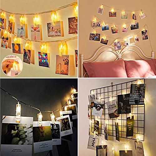 20 LED Photos Clips String Operated String for bedroom Hanging Photos, Cards and