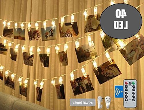 BestCircle 40 Photo Clip String 20 Ft, Hooks, White, Timer, Christmas Decoration, Wedding, Lightings