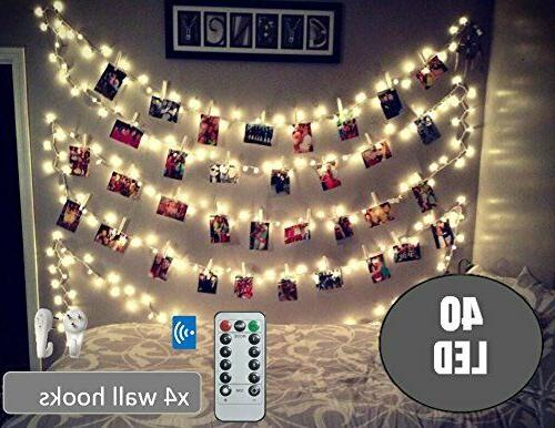 BestCircle LED Clip String Ft, Remote Hooks, Powered, White, Decoration, Lightings