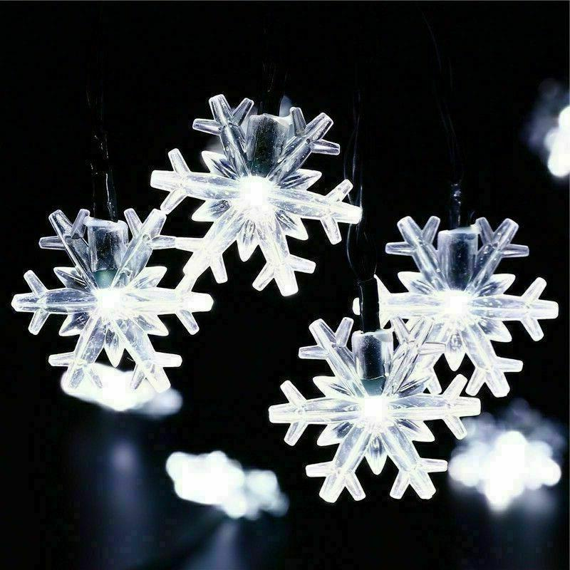 Solar Snowflake Fairy Lights Outdoor
