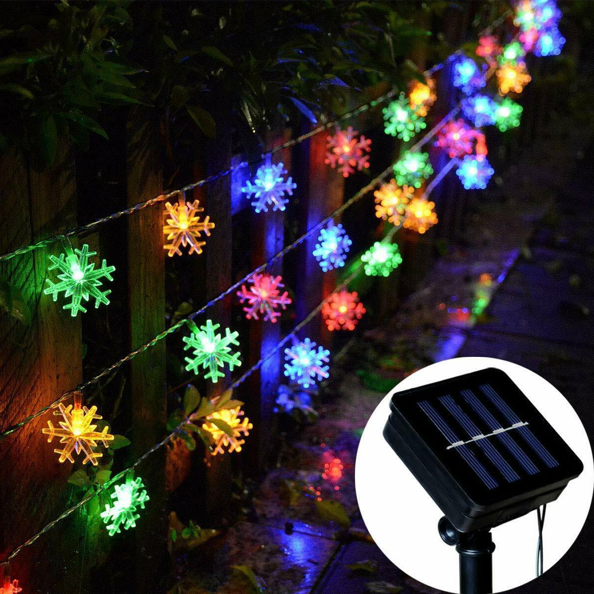 solar powered snowflake string fairy lights xmas