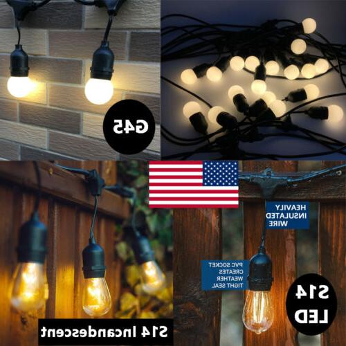 48 Feet Outdoor String Lights Commercial Grade Weatherproof
