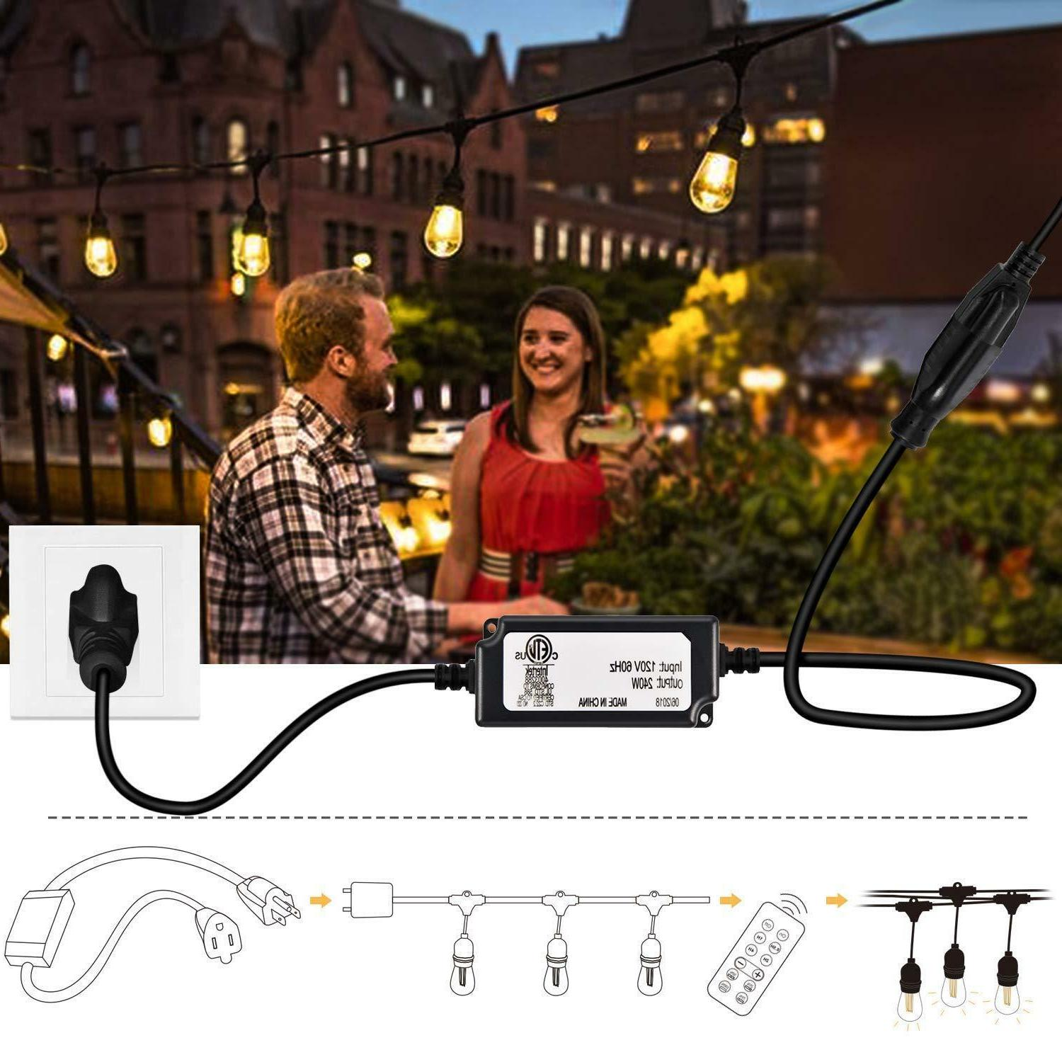 48FT Outdoor String Lights for Wedding Patio Backyard