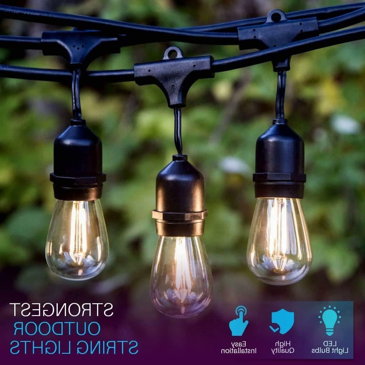 48FT Weatherproof Outdoor String Lights for