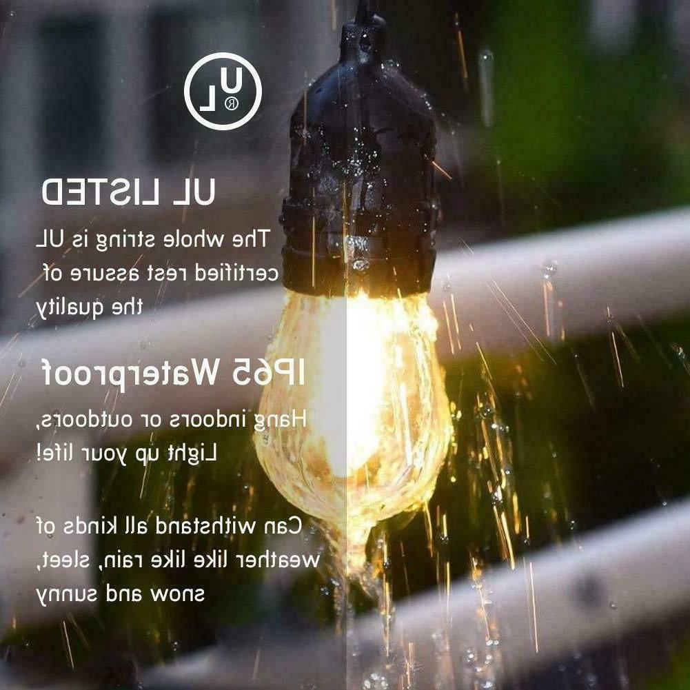 48FT LED Outdoor String Lights Bulbs