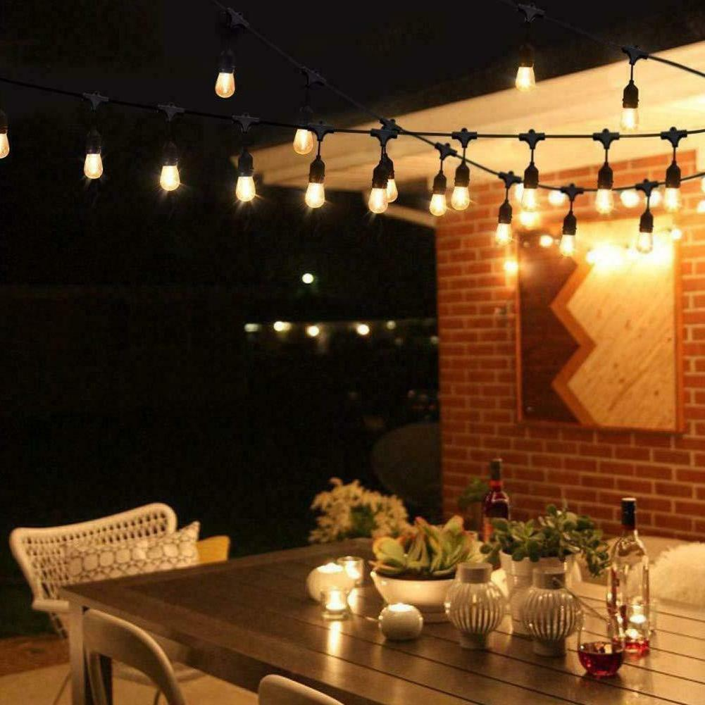 48FT LED Waterproof Commercial Patio Globe String Lights Bulbs