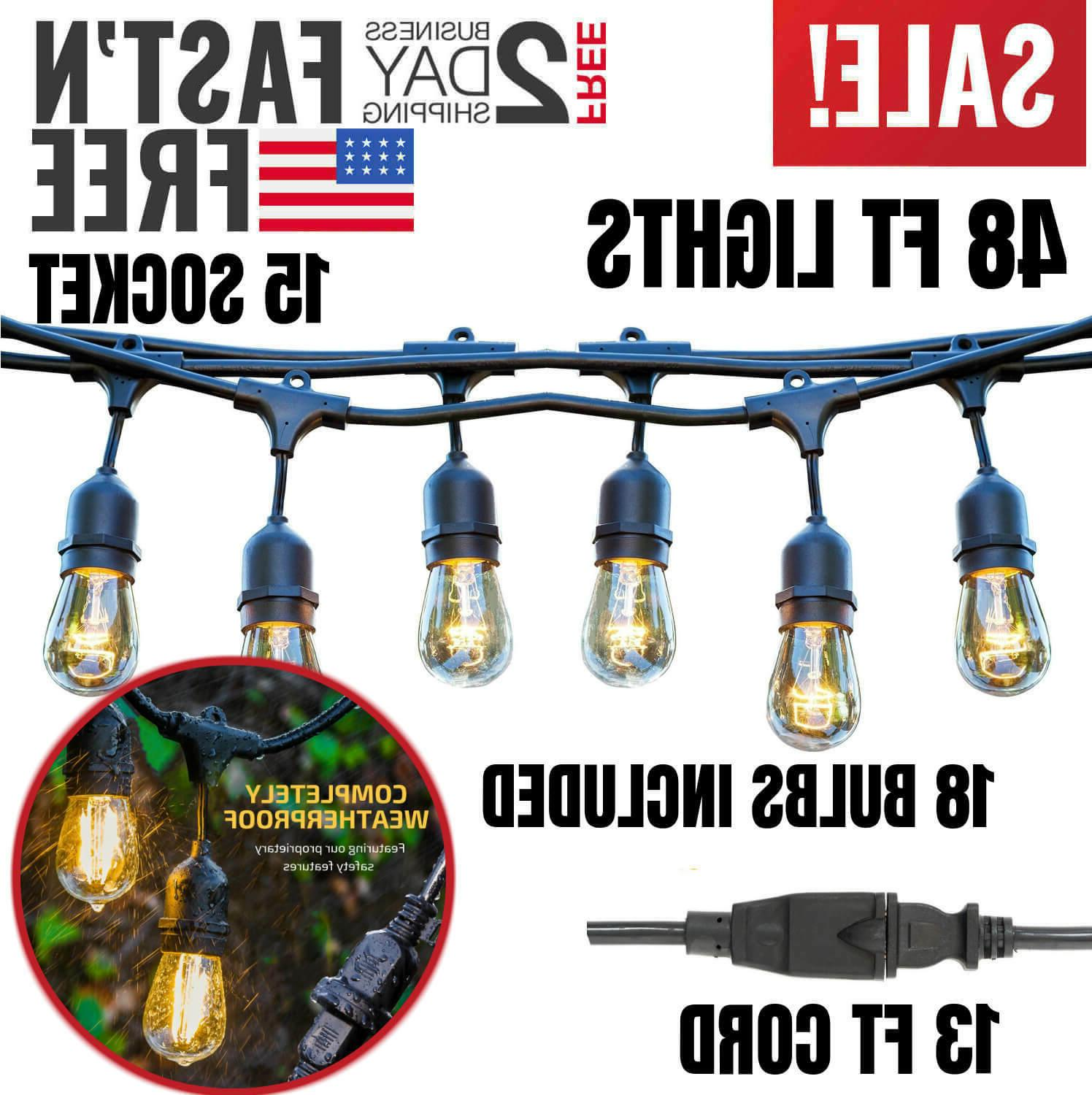 48ft outdoor string lights waterproof commercial cord