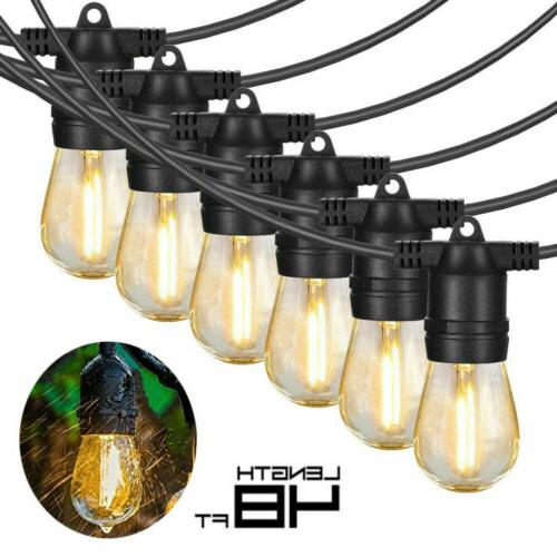 48ft Outdoor String Lights Waterproof Commercial Patio Globe