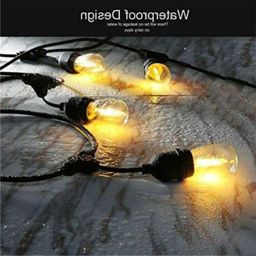 48ft String Lights Waterproof Commercial Patio Globe Fairy Light Bulbs