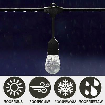 48ft Outdoor String Lights Waterproof Fairy Bulbs
