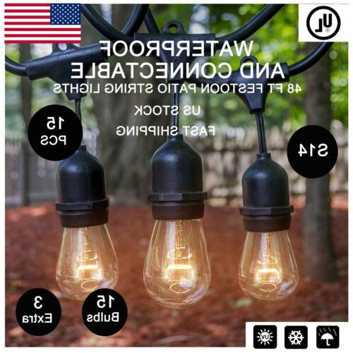 48ft Outdoor Waterproof String Lights S14 Bulb Lamp for Vint