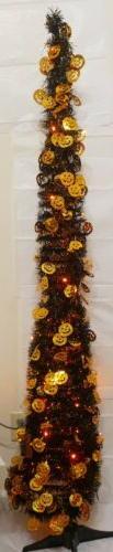 5.5 ft Halloween Pop Up Tinsel Tree Black Orange Pumpkin LED