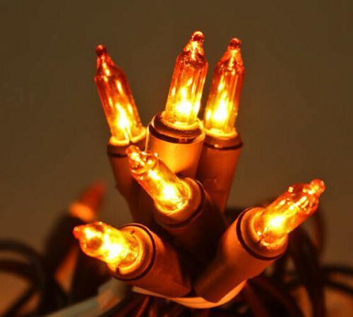 Darice 50 Amber Mini Lights, Brown Cord, Fall & Harvest Ligh