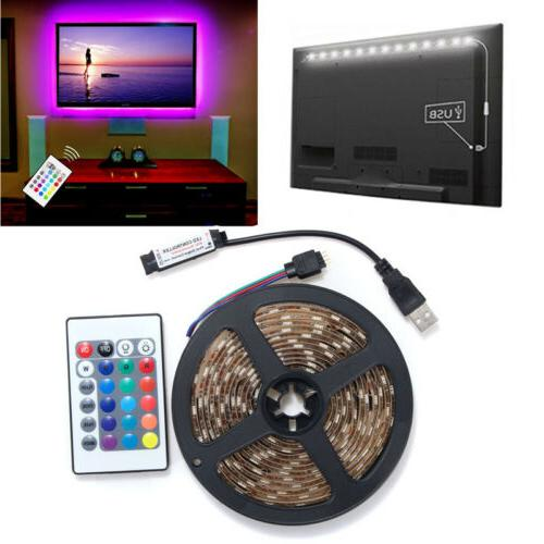 5V 5050 LED Strip Light TV Back Kit+USB Remote Control
