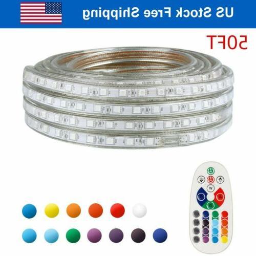 50FT LED Strip Light Remote Waterproof String Rope Lights Mu