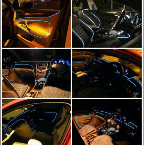 5M Interior LED Neon Light Kit Foot Decorative El Wire String Strip Charger