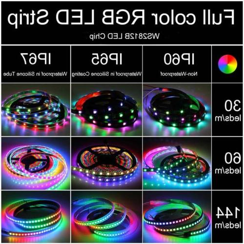 5V WS2812B 5050 RGB 30/60/144LEDs/M Strip IC Individual Addressable