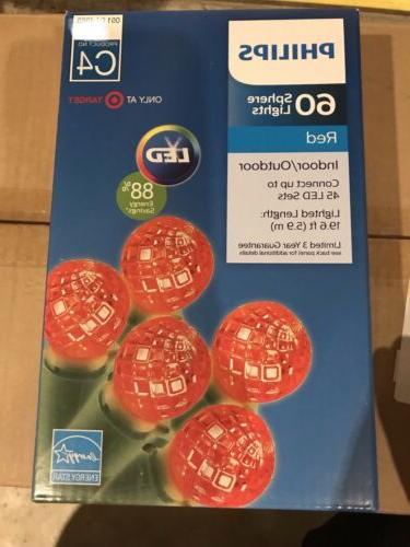 60 led red sphere christmas string lights