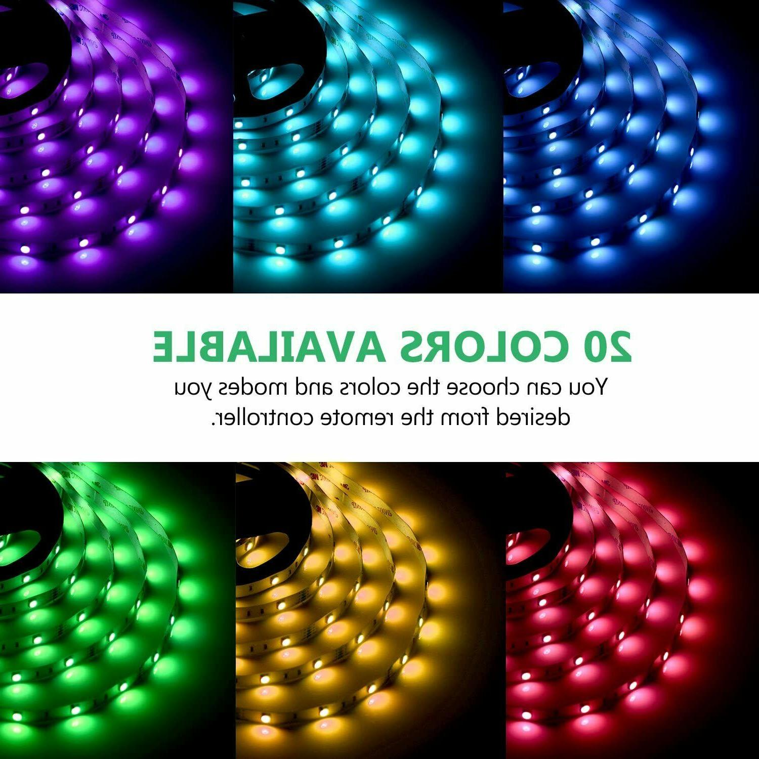 65.6FT Flexible Strip Light RGB Remote Fairy Room Party Bar