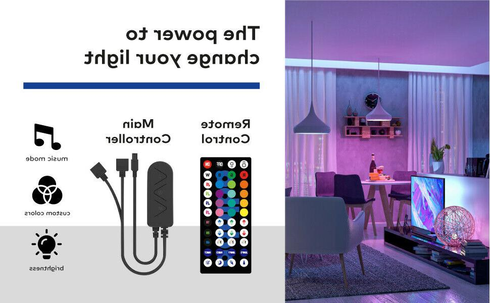 65FT Strip 3528 RGB LED SMD Remote Room TV Party