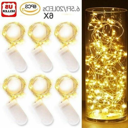 6x 20leds waterproof led micro silver copper