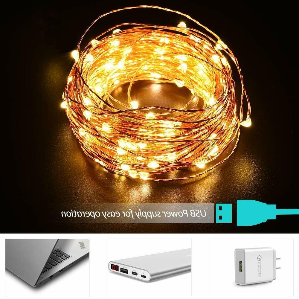 8 Modes LED Copper Wire String Plug-in Fairy Remote
