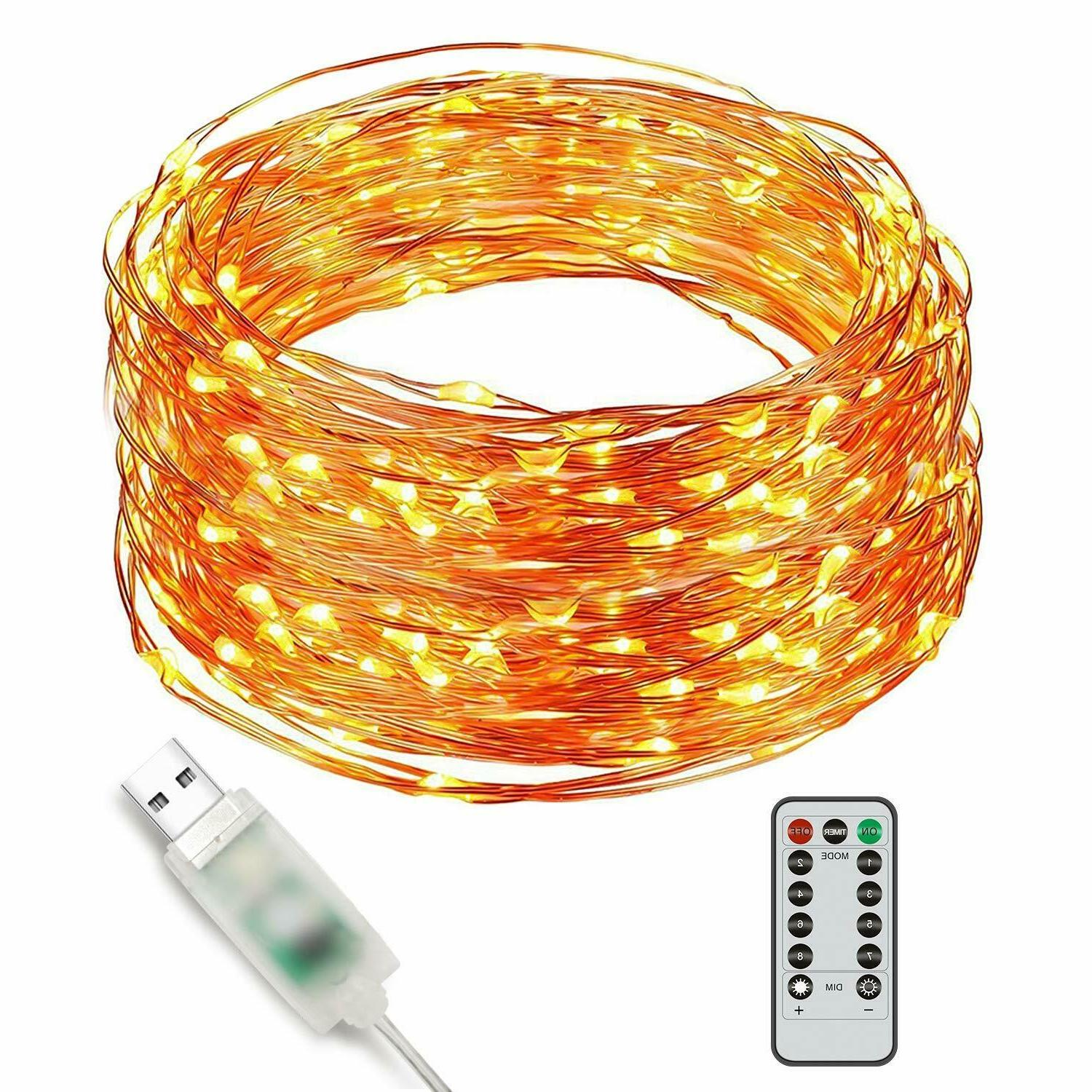 8 modes led copper wire string lights