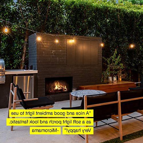 Brightech Waterproof String Lights Hanging 2W Vintage Edison - 27 Ft Heavy Duty Pergola Lights Cafe Ambience Backyard