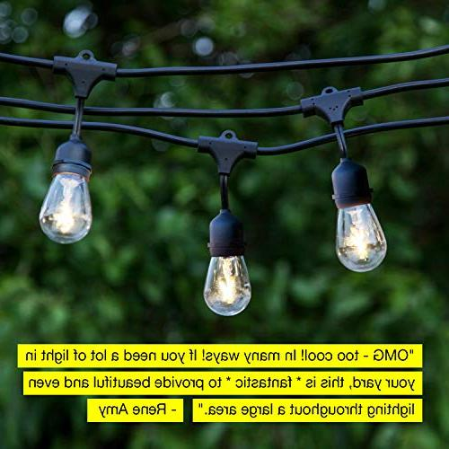Brightech Ambience Waterproof LED Outdoor Lights - Hanging Vintage Edison - 24 Patio Lights Bistro Ambience On Porch
