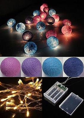 Battery Operated Mixed Blue & Purple cotton ball string ligh
