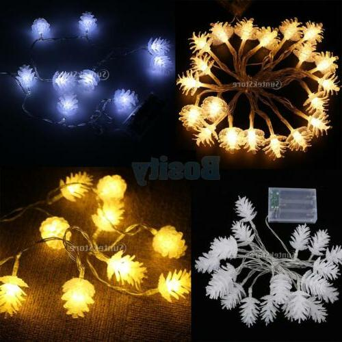 Battery Powered Pine Cone String Fairy Light Holiday Seasona