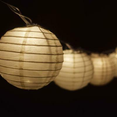 beige round paper lantern party string lights