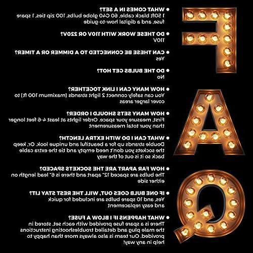 50ft String Lights, 60 Bulbs : Waterproof, Globe Patios, Parties, Weddings, Porches, More