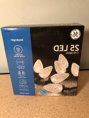 GE C9 LED Warm White 25 Light Set Christmas String Lights