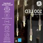 Christmas Icicle White Lights GE StayBright 100-Count Consta