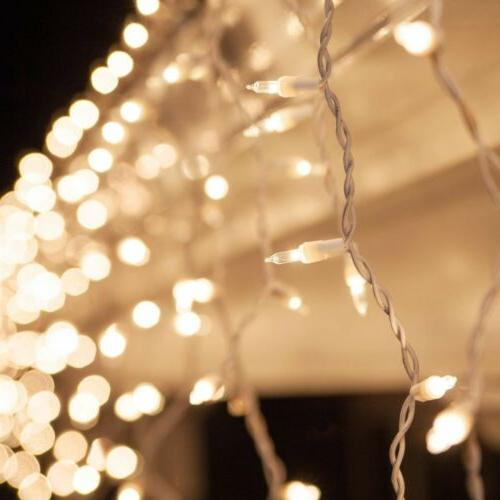 ALEKO Christmas Indoor/Outdoor Icicle Drop String 27 feet Clear