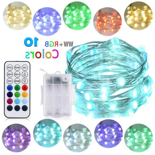 LED String Lights Rope Light 33ft 100LEDs Dimmable with Remo